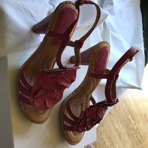 Born stacked heel pink floral sandal